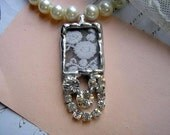 Romantic Elegant Stained Glass and Vintage Lace Soldered Pendant
