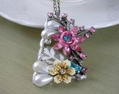 Stained Glass Necklace vintage look embellished with enamel flower