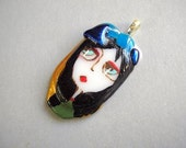 Abigail fairy tale .....Original painted fused glass  PENDANT folk art  FOCAL BEAD