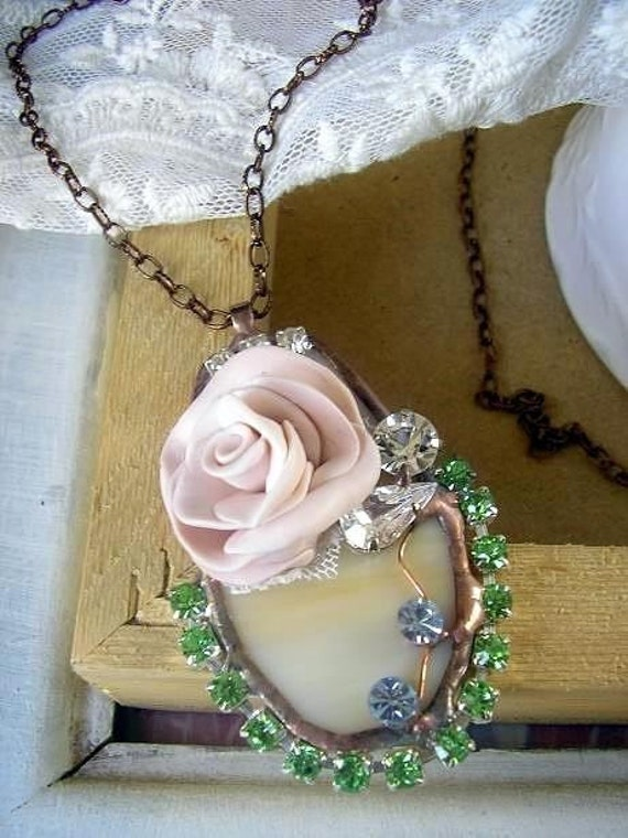 Alex ... necklace vintage Stained Glass embellished with Hand Sculpted Flower Rhinestones vintage lace