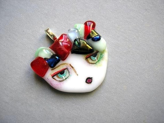 Emily.....original  painted face  Girl pendant  fused glass  folk art