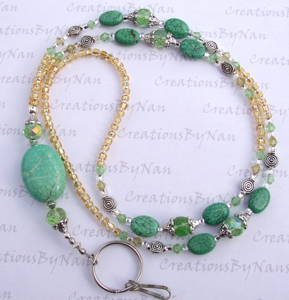 Blue Green Turquoise and Crystals Handmade Beaded Lanyard or Eyeglass Leash SRAJD
