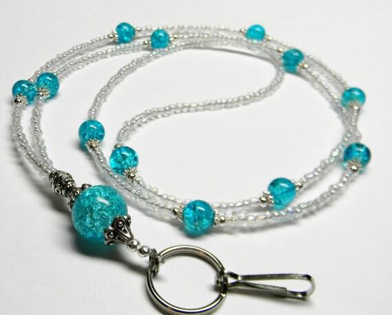 BEST Seller Aqua Crystal Crackle Clear Beaded Lanyard ID Badge Keyholder Necklace / Teacher / School / Student / Nurse / Gift For Her