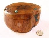 Arizona Mesquite Wood Jewelry Treasure Box with Turquoise Inlay