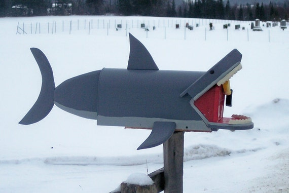 shark mailbox, great white shark fish mail box with swimmer leg in his mouth and shark teeth