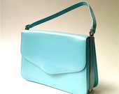 Mod vintage Robin's Egg Blue Pearlized Vinyl Purse