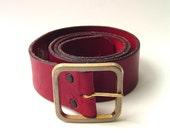 70s vintage Wide Cranberry Red Leather Belt