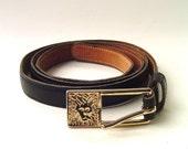 Skinny vintage Anne Klein Black Leather Belt