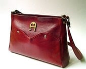 70s vintage Etienne Aigner Handmade Burgundy Leather Purse