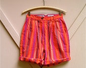 80s vintage Colorful Striped Cotton High Waist Shorts