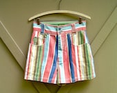 80s vintage Esprit Colorful Striped Cotton Twill High Waist Shorts