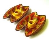 70s vintage Psychedelic  Drip Glaze Candle Holders