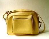 vintage Mustard Yellow Faux Leather Escort Weekend Bag