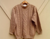 vintage Mocha Brown Cable Knit Oversized Sweater