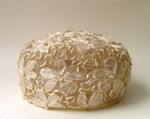 50s vintage Sepia Paper Flowers Pillbox Hat