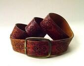 70s vintage Boho Rustic Hand Tooled Brown Leather Belt