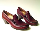 vintage Sebago Handsewn Oxblood Leather Loafers