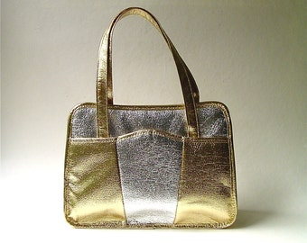 vintage Gold and Silver Handbag