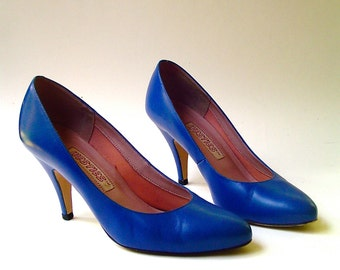80s vintage Cobalt Blue Leather Stilettos