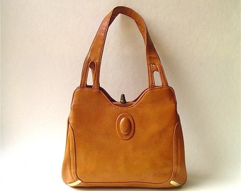 vintage Distressed Caramel Brown Faux Leather Purse