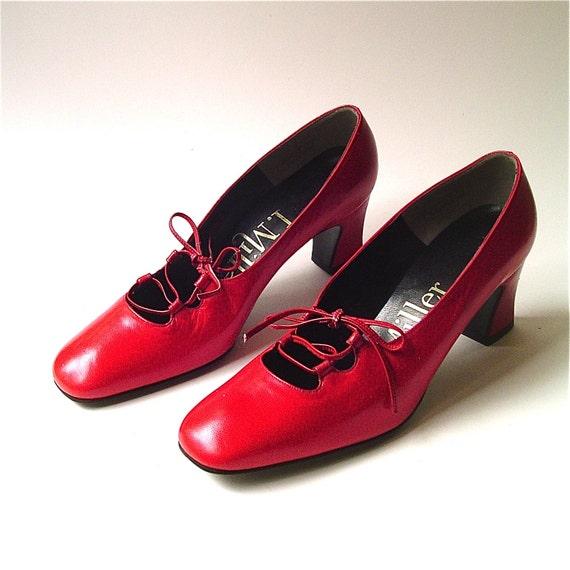 vintage Red Leather Corset Lace I. Miller Pumps