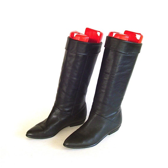 vintage black leather slouch boots