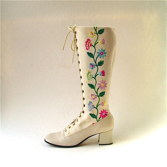 60s vintage Floral Embroidered Go Go Boots