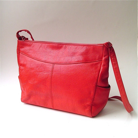 vintage Candy Apple Red Leather Purse