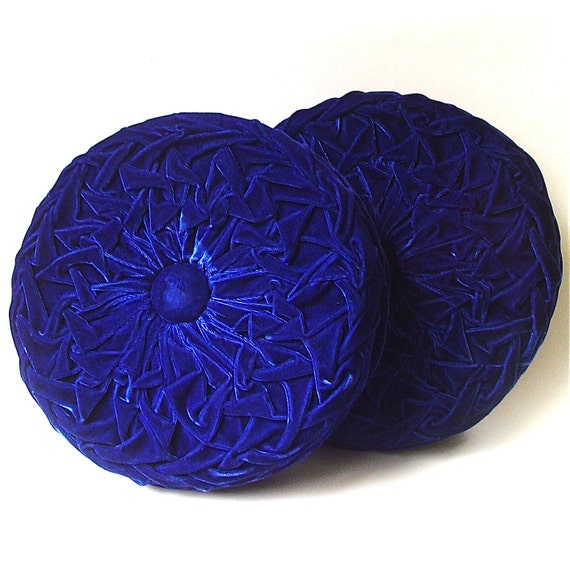 Round Blue Decorative Pillows : vintage Round Royal Blue Velveteen Smocked Pillows