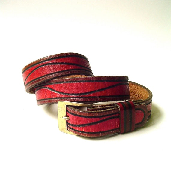 Rustic vintage Wavy Red and Black Tooled Leather Belt