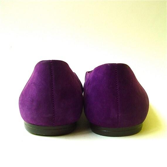 80s Vintage Purple Suede Ballet Flats