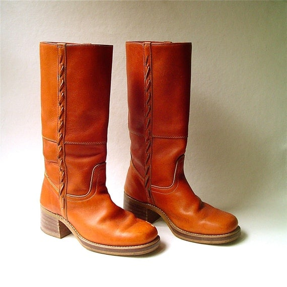 70s vintage Distressed Rust Orange Leather Campus Boots