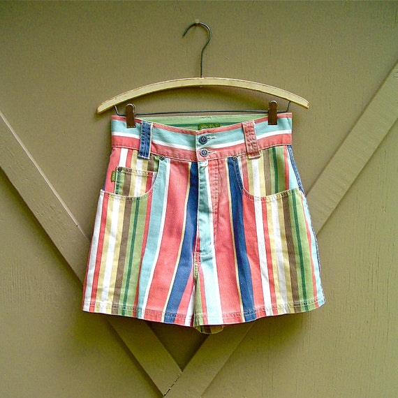 80s vintage Esprit Colorful Striped Cotton Twill High Waist Shorts