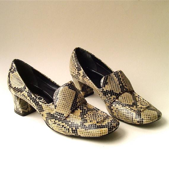 60s vintage Mod Snakeskin Print Faux Leather Shoes