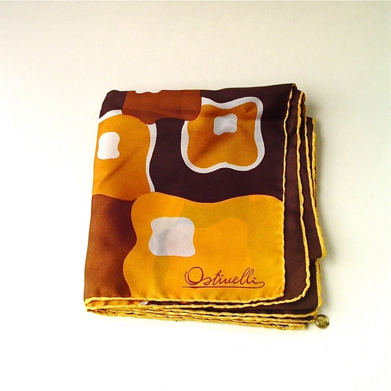 R e s e r v e d................................Mod vintage Ostinelli Bold Abstract and Floral Print Silk Scarf