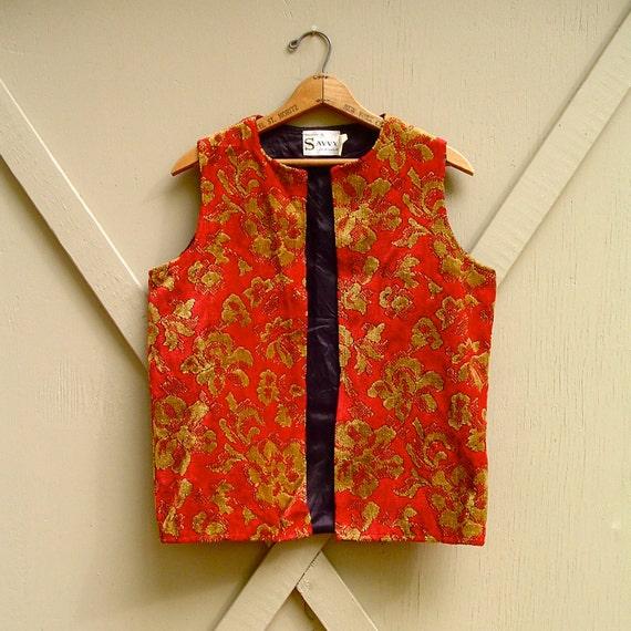 60s vintage Bohemian Red and Gold Floral Carpet Vest