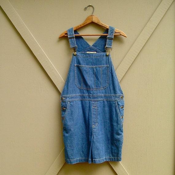 vintage Liz Claiborne Dark Blue Denim Short Overalls