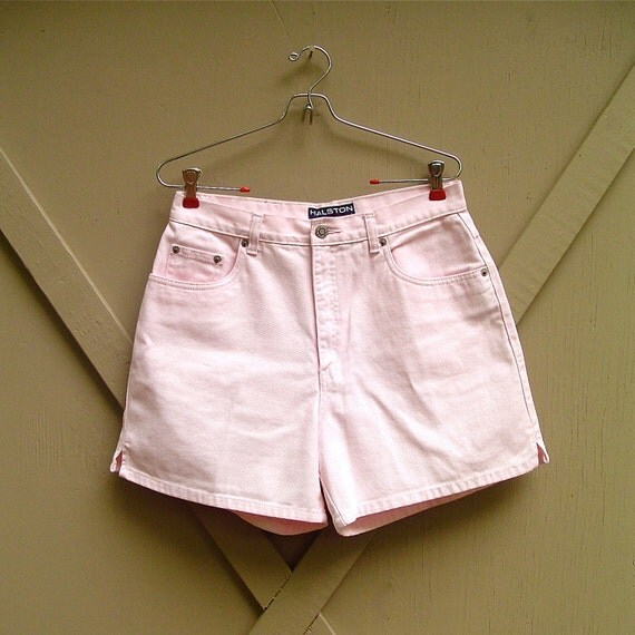 vintage Halston Pastel Pink Cotton Twill High Waist Shorts