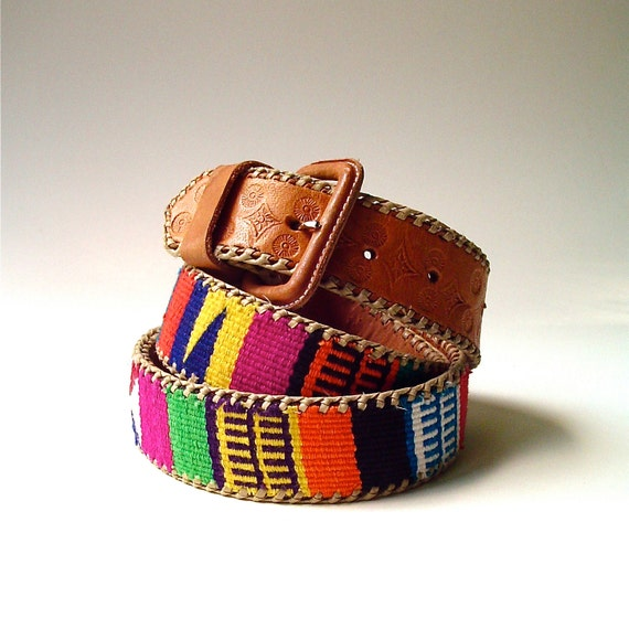 Colorful vintage Guatemalan Woven Fabric and Tooled Leather Belt