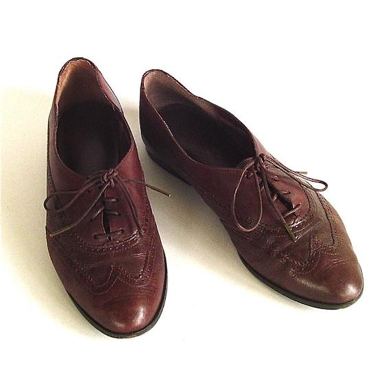 vintage Dark Brown Leather Oxford Shoes