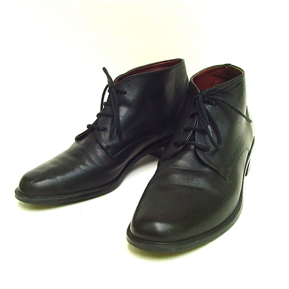 vintage aigner black leather ankle boots