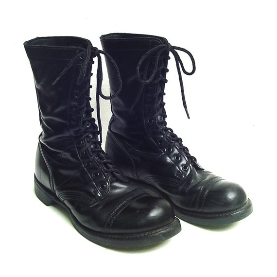 vintage mens black leather combat boots