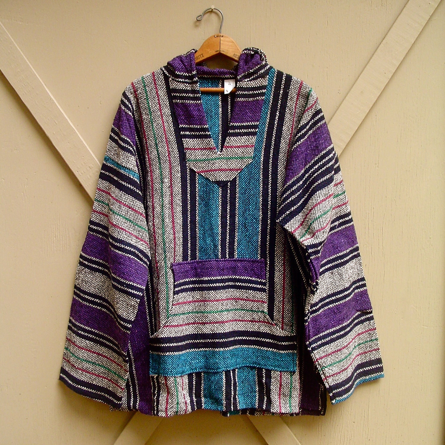 Vintage Mexican Baja Woven Hooded Pullover Shirt