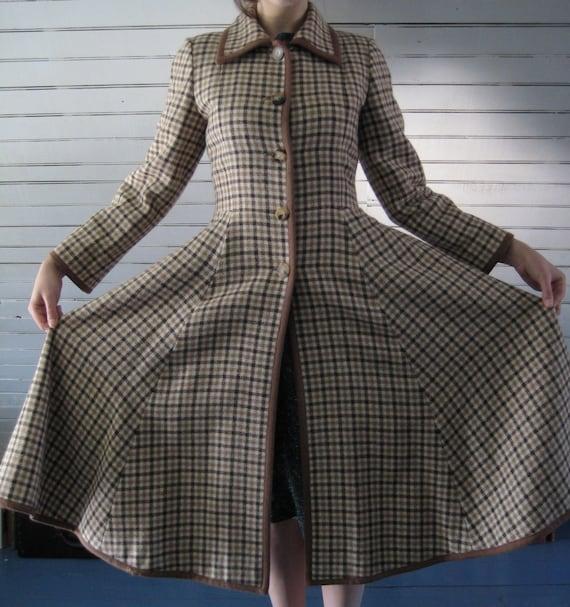 Vintage 1970s VALENTINO PLAID wool coat