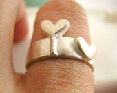 Silver Wedding Band - For women - 925 Sterling Silver Ring - Customized (Heart)