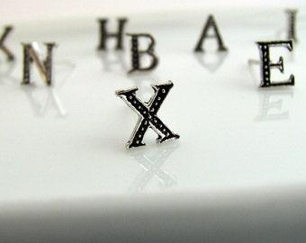 Stud earrings, letter X stud earrings sterling silver, stud earring set, silver stud earrings, small stud earrings,  X