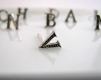 Men's stud earrings, alphabet letter V stud earring, silver stud earrings, initials stud earrings, earrings for men, letter stud earrings, V