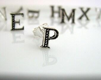 Letter stud earrings, P initial earrings, Initial stud earrings, Initial studs, letter earrings, letter studs, alphabet studs, P