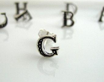 Relationship status letter G stud earrings,  sterling silver stud earrings, stud earring set, silver stud earrings, small stud earrings, G