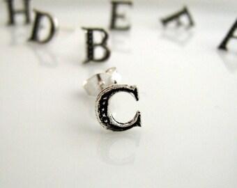 Stud earrings, letter C stud earrings sterling silver, stud earring set, silver stud earrings, small stud earrings, C